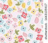 contemporary hand drawn floral...   Shutterstock .eps vector #1663135417