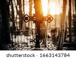 A black old patterned cross...