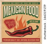 Vintage poster for Mexican food. Retro vector design template for Mexican restaurant on old paper texture.
