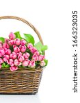 pink tulips in the wicker... | Shutterstock . vector #166323035
