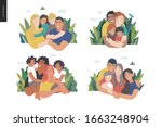 happy international family with ... | Shutterstock .eps vector #1663248904