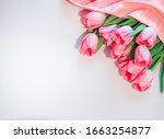 Pink flowers white background....