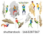 boys and girl with bag climbing ... | Shutterstock .eps vector #1663287367