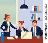 group of worker discuss about... | Shutterstock .eps vector #1663333861