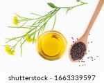 mustard seeds and oil with... | Shutterstock . vector #1663339597