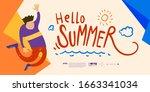summer holiday season banner... | Shutterstock .eps vector #1663341034