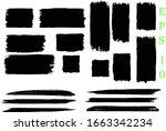 black grunge paint banners  set ... | Shutterstock .eps vector #1663342234