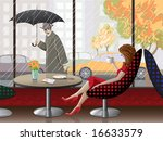 Romantic scene - lady is having coffee near to the window at the cafe - stock vector