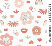 seamless pattern with abstract... | Shutterstock .eps vector #1663372291