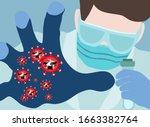 chemist eliminates corona virus.... | Shutterstock .eps vector #1663382764