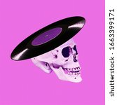 Small photo of Contemporary art collage. Musical skull. Vinyl never die