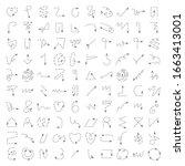 vector set of dashed line arrow ... | Shutterstock .eps vector #1663413001