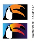 Toucan, simple and version with gradient. Vector illustration. - stock vector