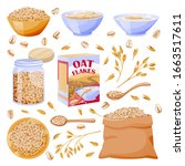 oats cereal ears  grain in sack.... | Shutterstock .eps vector #1663517611