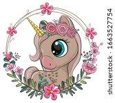 cute cartoon unicorn with... | Shutterstock .eps vector #1663527754