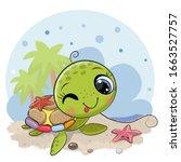 cute cartoon water turtle on... | Shutterstock .eps vector #1663527757