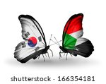 two butterflies with flags on... | Shutterstock . vector #166354181