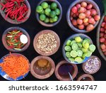 rustic style raw vegetables ... | Shutterstock . vector #1663594747