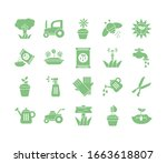 tractor and gardening icon set... | Shutterstock .eps vector #1663618807