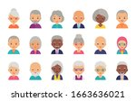old people avatar. vector. ... | Shutterstock .eps vector #1663636021