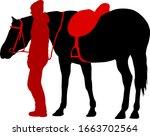silhouette of black mustang... | Shutterstock .eps vector #1663702564