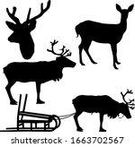 silhouette deer with great... | Shutterstock .eps vector #1663702567
