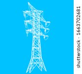 silhouette of high voltage... | Shutterstock .eps vector #1663702681