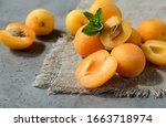 Fresh Apricots With Mint On A...