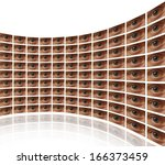 Small photo of Curved wall of video screens with eyes White background