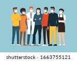 group of people wearing... | Shutterstock .eps vector #1663755121