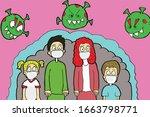 vector illustration fight covid ... | Shutterstock .eps vector #1663798771