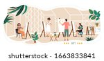 people painting in art studio ... | Shutterstock .eps vector #1663833841