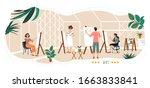 people painting in art studio ... | Shutterstock .eps vector #1663833841