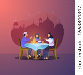 flat design of iftar party with ...   Shutterstock .eps vector #1663844347