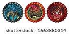 vector set of three bottle caps ... | Shutterstock .eps vector #1663880314