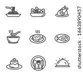 set of cuisine icons in black... | Shutterstock .eps vector #1663890457