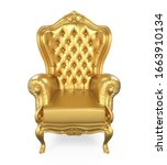 Golden Throne Chair Isolated. 3D rendering