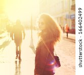 beautiful girl hipster on the... | Shutterstock . vector #166402499
