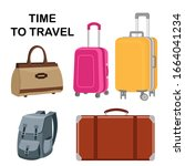 set of travel bags. a plastic...   Shutterstock .eps vector #1664041234
