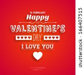 happy valentines day card... | Shutterstock .eps vector #166407515