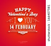 happy valentines day card... | Shutterstock .eps vector #166407581