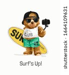 Surf's Up Slogan With Bear Toy...