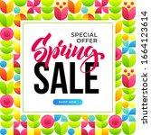 spring sale banner template...   Shutterstock .eps vector #1664123614