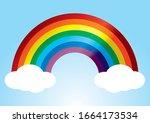 rainbow  color rainbow with... | Shutterstock .eps vector #1664173534