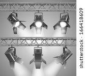realistic show projectors...   Shutterstock .eps vector #166418609