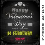 happy valentines day card... | Shutterstock .eps vector #166418765