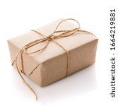 Gift Box Wrapped With White...