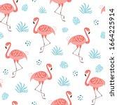pink flamingo seamless pattern...   Shutterstock .eps vector #1664225914