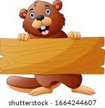 beaver cartoon holding a wooden ...   Shutterstock .eps vector #1664244607