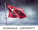 flag of turkey against the sky. ... | Shutterstock . vector #1664264977